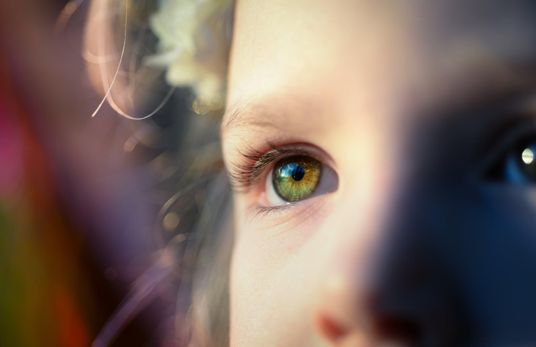 close up portrait of human eye